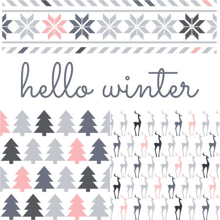 typography hello winter and patterns with gray and pink deer, pine tree and snowflake Çizim