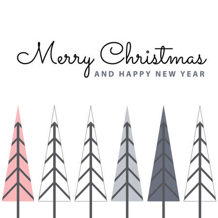 typography: Marry Christmas and Happy New Year with gray and pink pine trees