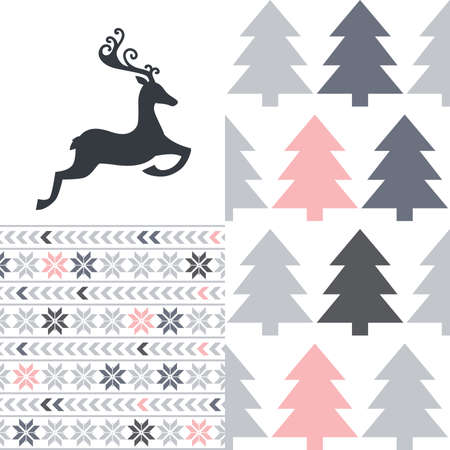 abstract deer icon with pine tree and snowflake pattern, vector