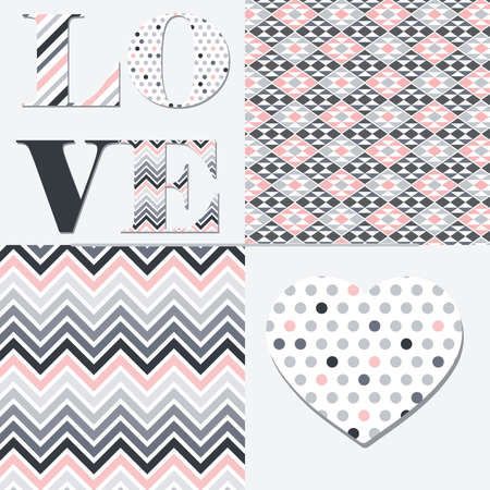 word love and heart shape with  abstract patterns, vector