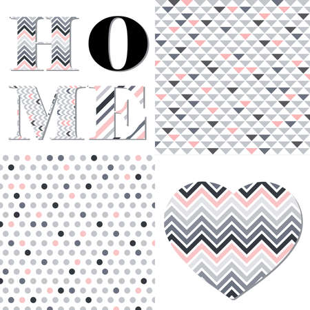 word home and heart shape with abstract patterns, vector