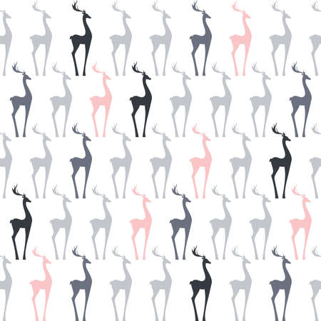 deer,  vector gray and pink  pattern background