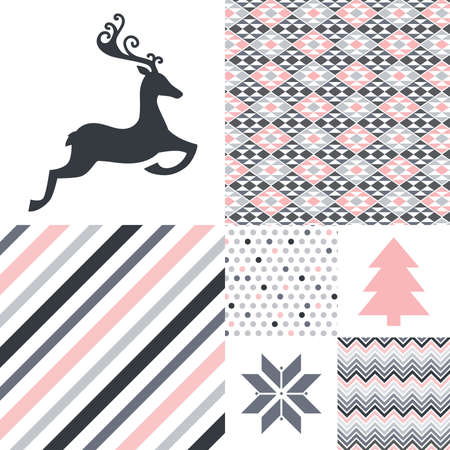 collection of geometrical patterns and deer, pine tree and snow flake icons, vector