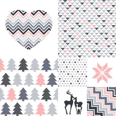 collection of geometrical patterns with heart,  deer family and snow flake icons, vector