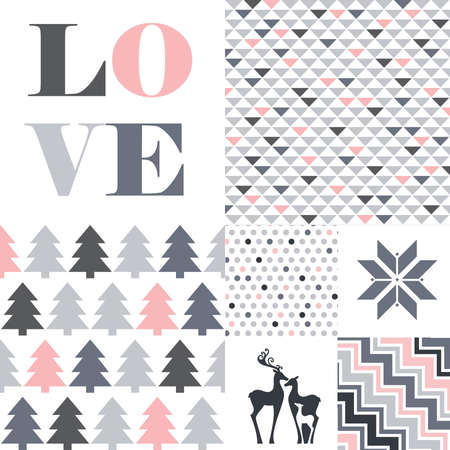 typographic word love, deer family and snow flake icons with collection of geometrical patterns with heart,  vector