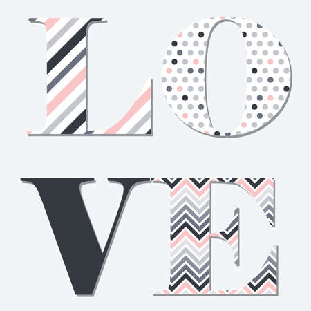 geometric patterns inside typographic word love, vector