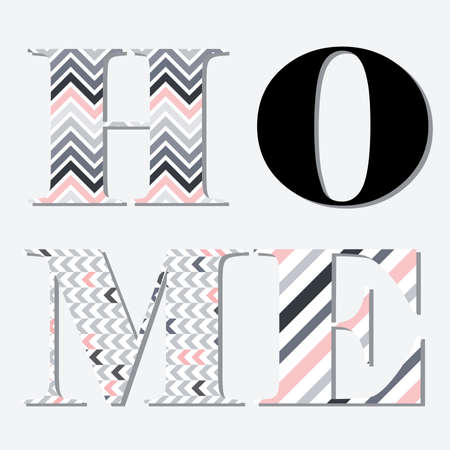typographic word home, geometric patterns inside letters, vector Çizim