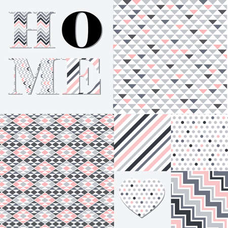 decorative word home and geometrical patterns collection, vector Çizim