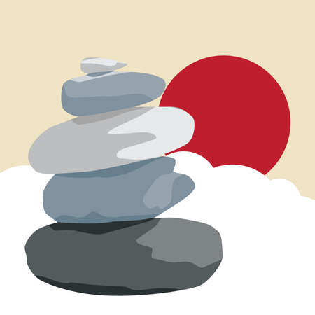 zen stones clouds and red sun, vector illustration Çizim