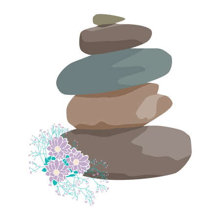 zen stones and wild flowers Vector Illustration