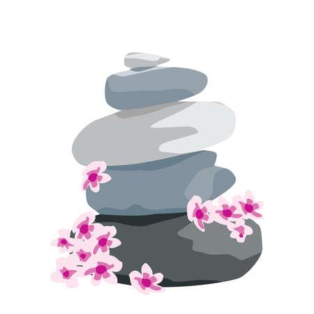 cherry tree flowers and zen stones, vector Illustration