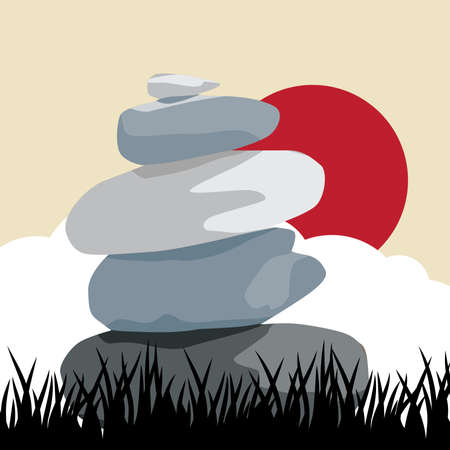 zen stones clouds and red sun, vector illustration Vettoriali