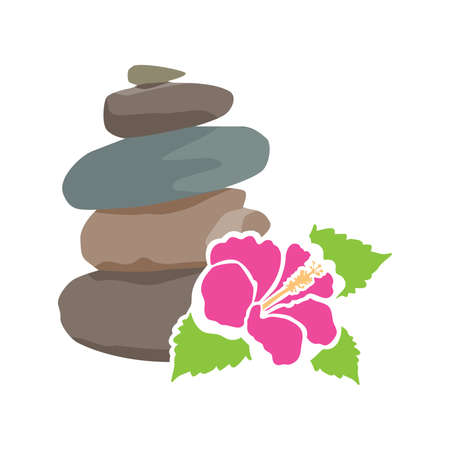 zen stones and hibiscus flower, vector illustration Vettoriali