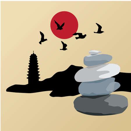 mountain landscape with zen stones, vector graphic design element