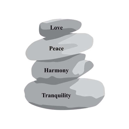words: love, peace, harmony, tranquility and zen stones, vector