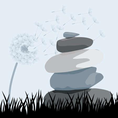 Zen stones with dandelion flower, vector illustration