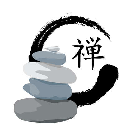 Stones, symbol and Japanese calligraphic characters meaning zen