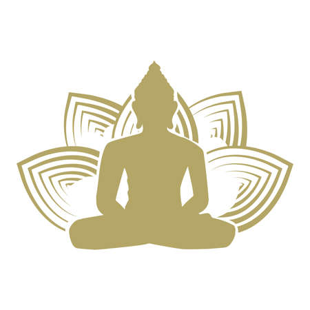 Buddha and lotus flower, vector graphic design element