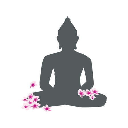 Buddha and cherry tree flowers, vector graphic design element Zdjęcie Seryjne - 140349078