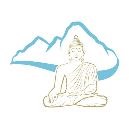 Buddha and blue mountain Stock Illustratie