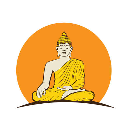 Buddha and sun, vector graphic design element