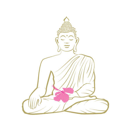Buddha with pink hibiscus flower, vector graphic design element