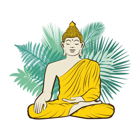 Gold Buddha with palms leaves Ilustrace