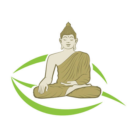 Buddha and green leaf, vector graphic design element