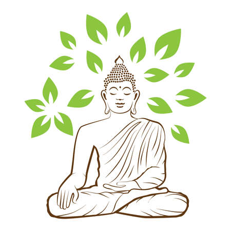 Buddha and green leaves, vector graphic design element Stock Illustratie