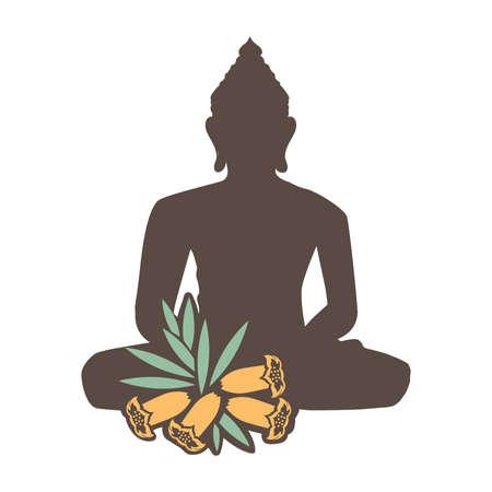 Buddha and wild flowers