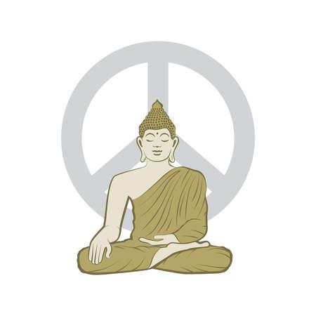 Buddha and peace symbol