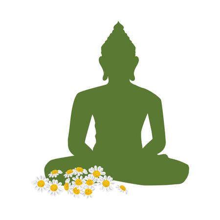 Buddha and daisies flowers, vector graphic design element