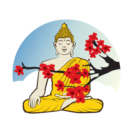 Buddha and cherry tree flowers, vector graphic design element