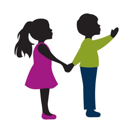 Niño y niña de pie cogidos de la mano, ilustración vectorial