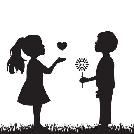 Junge mit Blume und Mädchen mit Herz, Vektorillustration