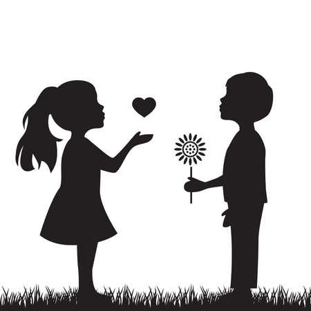 ragazzo con fiore e ragazza con cuore, illustrazione vettoriale