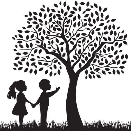 kids and beautiful tree