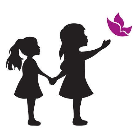 little girls with butterfly, vector graphic design element Vektorgrafik