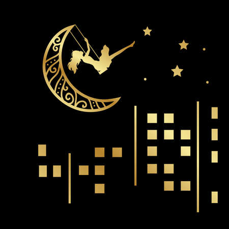 city and moon swinging lady, vector