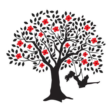 mujer joven y columpio de árbol floreciente, vector