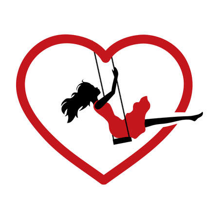 young woman and red heart swing, vector Çizim