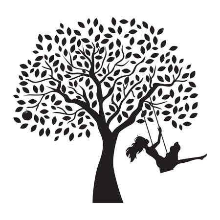 mujer joven y columpio de árbol, vector