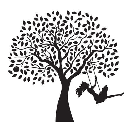 young woman and tree swing, vector