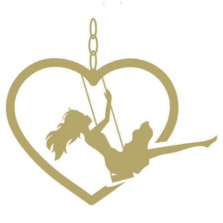 jeune femme et swing de coeur d'or, vecteur