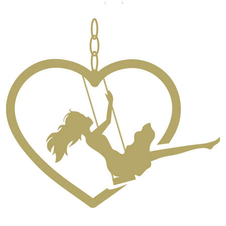 young woman and gold heart swing, vector Çizim