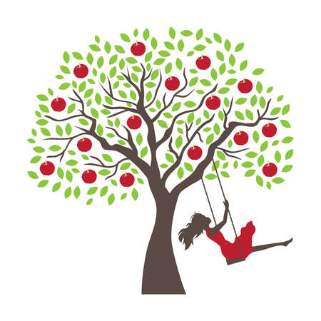 young woman and apple tree swing, vector