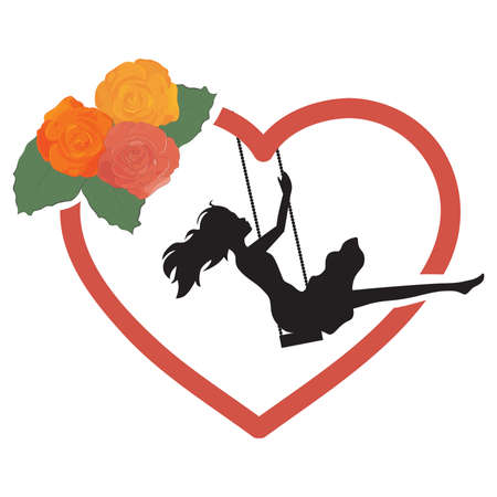 young woman, roses and red heart swing, vector Çizim