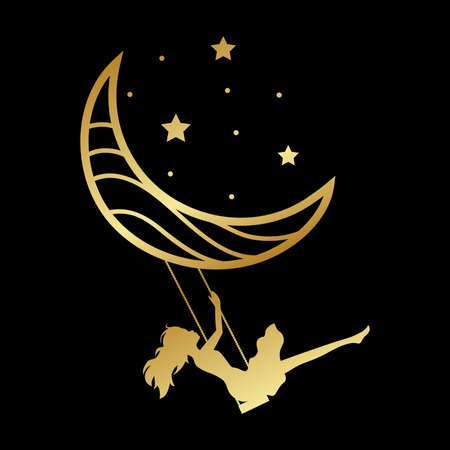 young woman, moon swing and stars, vector