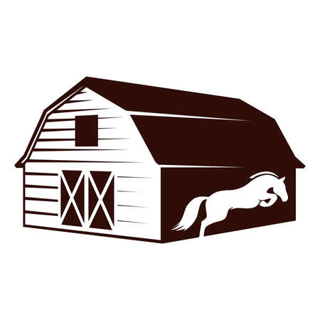 Farm barn and white horse, vector graphic design element Иллюстрация