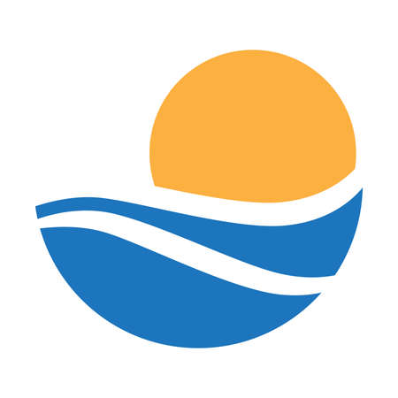 abstract blue water waves and orange sun, vector